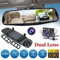 "4.3"" HD 1080P In-Car Rear View Mirror Dash Cam DVR Recorder Dual Lens Camera UK"