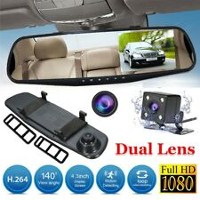 "4.3"" HD 1080P In-Car Rear View Mirror Dash Cam DVR Recorder Dual Lens Camera UK"