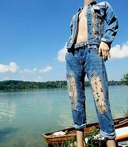 Ausgefallene Damen Jeans Hose blau Baggy Denim Blumen 32-34-36-38-40 blau