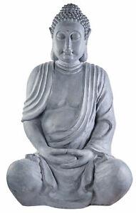 XXL Großer Buddha 100 cm Steinfigur Garten Deko Figur Skulptur Feng Shui sitzend