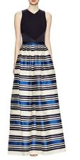THEIA Satin Ball Gown Jacquard Striped Skirt & Crepe Cutout Bodice Dress 10 $995