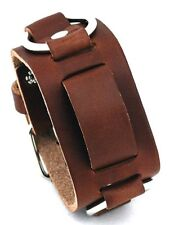 Biker Brown Leather Watch Band Buckle Close - Chrome Rings - USA MADE