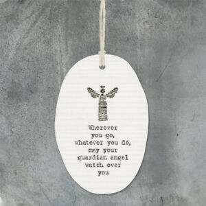 WHEREVER YOU GO Guardian Angel Porcelain Hanging sign 8x5.5 cm East of India New