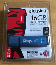 Kingston 16gb Dtvp30 256bit Aes Encrypted Usb 3.0 DataTraveler Vault Privacy 3.0