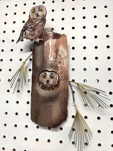 Bovano Copper Enamel Owls Pine Tree Wall Art