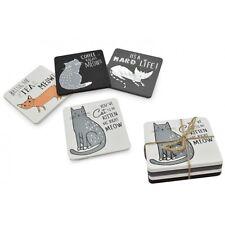 Coaster Set ~ Set of 4 Wood Coasters ~ CATS
