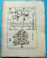 Ancienne Estampe Eau Forte Horlogerie Machine les roues de rencontre PL1. 1784