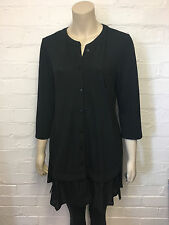 #63 Ladies DESIGNER Size UK 12 Black Button-front Ruffle Hem Tunic Dress