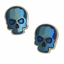 Crystal Skull Earrings Silvertone Blue Metallic Large