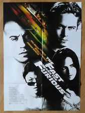 THE FAST & THE FURIOUS vintage German 1-sheet poster PAUL WALKER 2001