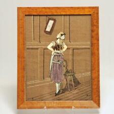 GERMAN STUMPWORK ILLUSTRATION EMBROIDERY, PRETTY GIRL & MIRROR 1800's, SIGNED