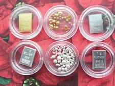 *NEU* 6x GOLD PLATIN PALLADIUM SILBER Kapseln Nugget Granulat Goldbarren Sammeln