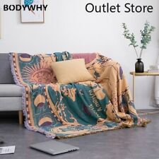 Nordic World Map Knitted Throw Blanket Bedspead Tapestry Tassel Sofa Couch Cover
