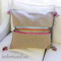 Moroccan Wool Berber Tassel Pom Pom Cushion Pillow Kilim Natural Brown Beige