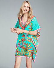 NWT Trina Turk Teal  Floral Silk Tunic Cover up Size S