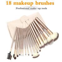 Pro 18 Pcs Makeup Brushes Cosmetic Tool Kit Eyeshadow Powder Brush Case Bag Set