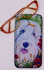 BEARDED COLLIE DOG DESIGN NEOPRENE GLASS CASE POUCH SANDRA COEN ARTIST PRINT