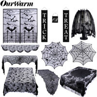 Black Spiderweb Tablecloth Fireplace Mantle Scarf Cover Halloween Party Decor