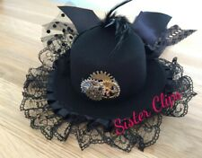 Handmade black steampunk/gothic Top Hat clip tulle lace feathers clockwork gears