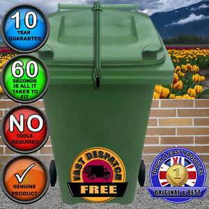 Wheelie Bin Strap Lock-NO DRILLING-Stop Wind or Vandals in GREEN