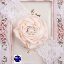 Girl Baby Kids Christening Party Beige Rose Flower Soft Lace Hair Headband Prop