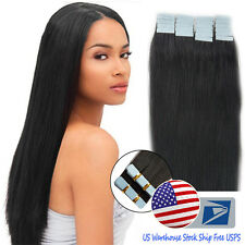 US Stock Tape In Skin Weft 16Inch Black Real Remy Human Hair Extensions Straight