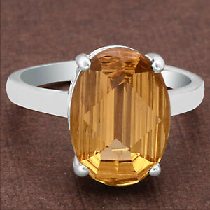 Natural Golden Citrine 925 Sterling Silver Ring s.7 Jewelry E261