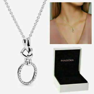 2021 UK Genuine Sterling Silver Pandora Pendant 398078CZ Knotted Heart Necklace