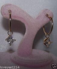QVC 14k Yellow Gold removable changeable Charm 1.5ct Diamonique DQCZ CZ earrings