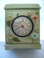 """Vintage Wood Mantel/Table Cabinet Clock Front Door Access Floral Design 13"""" Tall"""