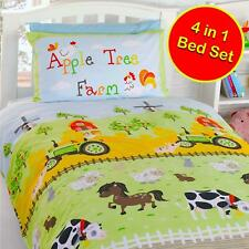 APPLE TREE FARM JUNIOR COT BED DUVET SET 4 in 1 BUNDLE BEDDING
