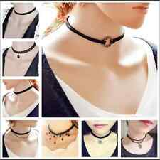 Sexy Gothic Black Lace Retro Choker Charm Collar Pendant Chain LEATHER Necklace