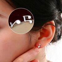 2 Pair Women Silver Plated Music Note Ear Stud Earrings Fashion Jewelry Nice
