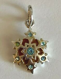 Thailand Sterling Silver Snowflake with Crystals Charm