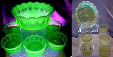 "VINTAGE~c1903""JEFFERSON""VASELINE OPALESCENT GLASS""6pc""FLEUR-DI-LIS""BERRY SET-MNT"