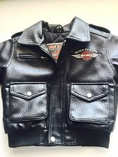 LEATHER HARLEY DAVIDSON MOTORCYCLE JACKET BORN TO RIDE KIDS Size 3