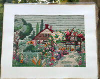 "Vtg Unframed Finished Cottage Florals NEEDLEPOINT SAMPLER 16 3/4"" X 13 1/2"" Aged"