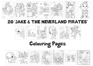 JAKE & NEVERLAND PIRATES Colouring Pages - 20 Sheets - Perfect for Rainy Days!