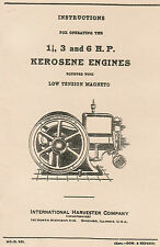 International Ih M 1.5 3 6 hp Low Tension Gas Engine Motor Book Manual Hit Miss