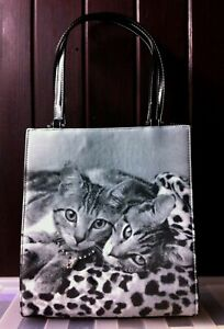 Gorgeous Stylish Chic Cat Sisters Handbag. Diamanté Necklace Leopard Kittens Bag