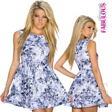 New Sexy Floral Flower Print Mini Dress Size 10  M Party Evening Christmas