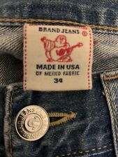 (Used) Mens True Religion Straight Blue Denim Jeans W:34 Made In USA. Designer