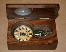 Antique vintage maritime brass pocket watch victorian marine art w/box Halloween