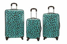 3 Piece Upright Hard Luggage Set Polycarbonate/ABS - Blue Leopard