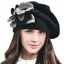 Lady French Beret 100% Wool Beret Chic Beanie Winter Hat HY023 Black