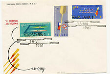 Poland 1961 First Day Cover Canoe Championships #1006-08 Boat Cachet