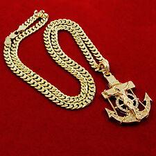"""Mens Gold Iced Out Cz Anchor Jesus Pendant 30"""" Cuban Chain Hip Hop Necklace D809"""