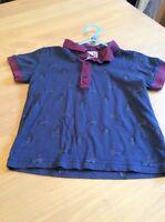boys clothes 2-3 years Navy Burgundy Cotton Penguins Short Sleeve Polo Shirt Top
