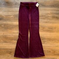 NWT Forever 21 Contemporary Corduroy Flare Leg High Waisted Burgundy Red Pants L