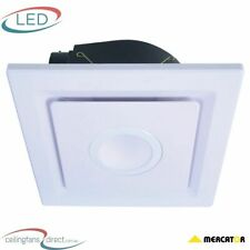 EMELINE-II SQUARE EXHAUST FAN WITH 10W LED LIGHT - DIY - WHITE - NEW!